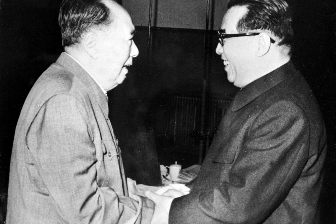 前國家主席毛澤東與北韓領袖金日成。