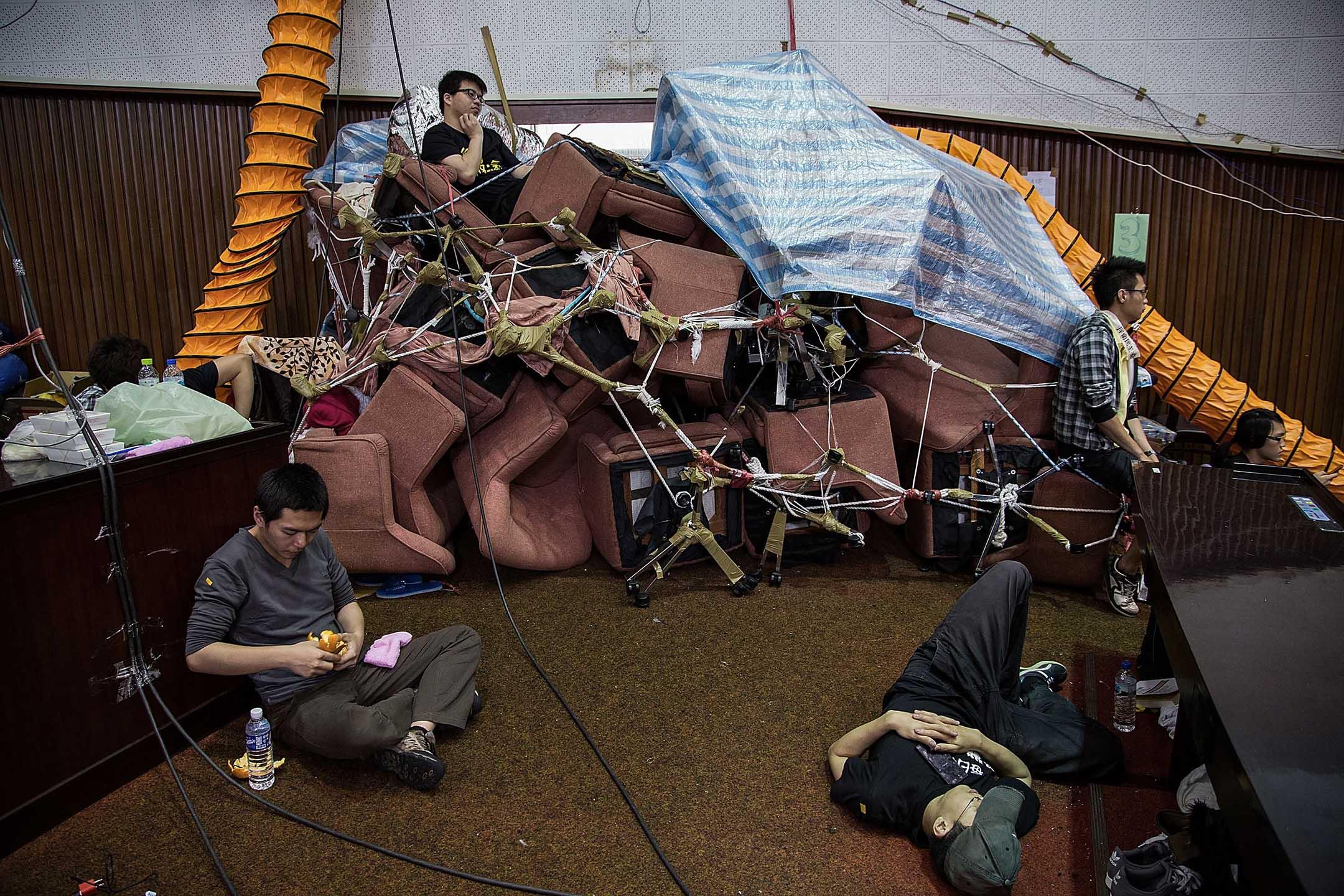 2014年3月26日,自2014年3月18日起台灣的學生佔領著立法院。 攝:Lam Yik Fei/Getty Images
