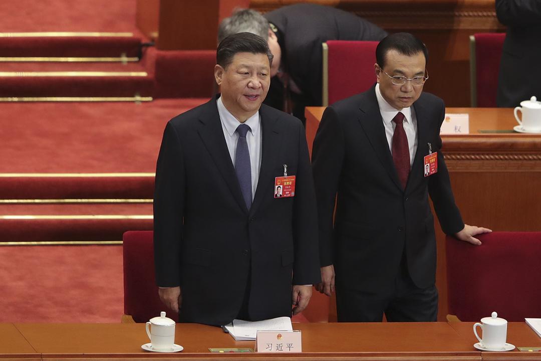 2019年3月5日,中國國家主席習近平及國務院總理李克強在北京人民大會堂出席第十三屆全國人民代表大會第二次會議。 攝:Lintao Zhang / Getty Images