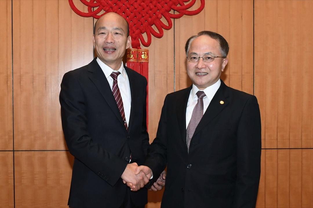 2019年3月22日,台灣高雄市市長韓國瑜到訪香港期間到中聯辦與香港中聯辦主任王志民會面。 圖:中聯辦