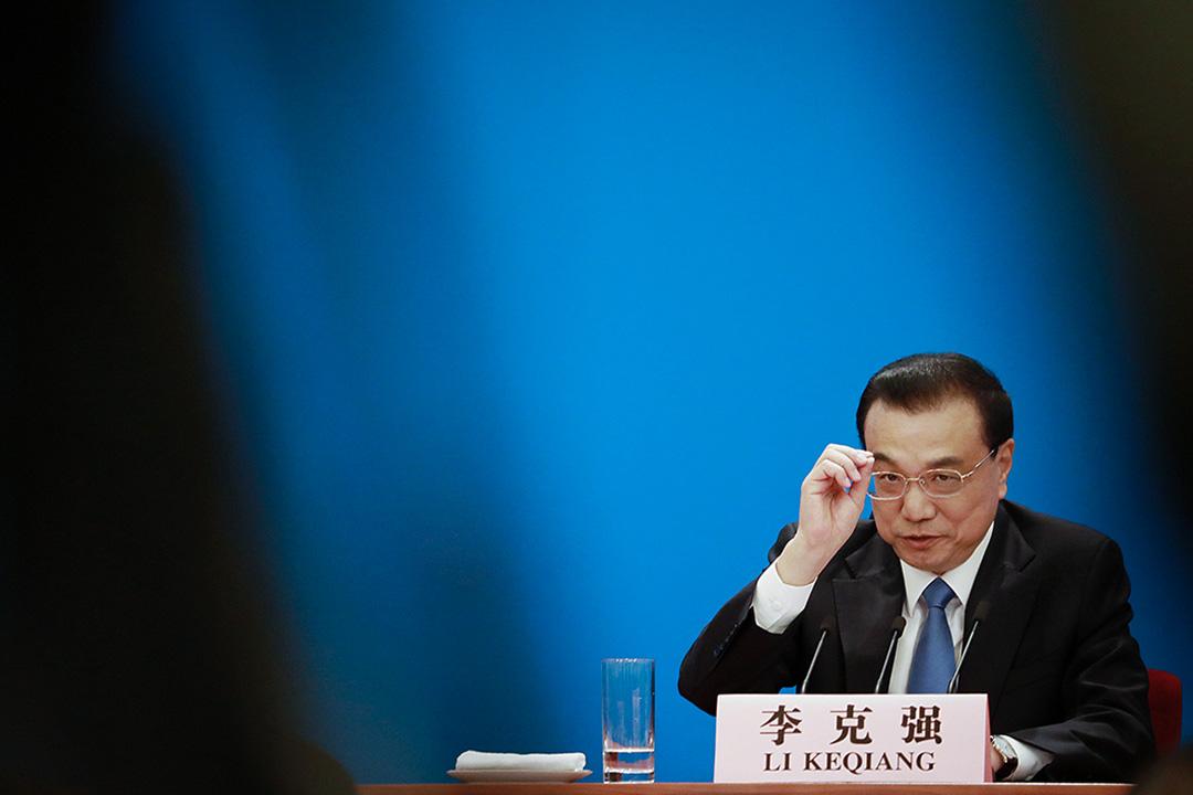 2019年3月15日,在中國北京人民大會堂,總理李克強於第十三屆全國人民代表大會第二次會議閉幕後的記者會上發言。