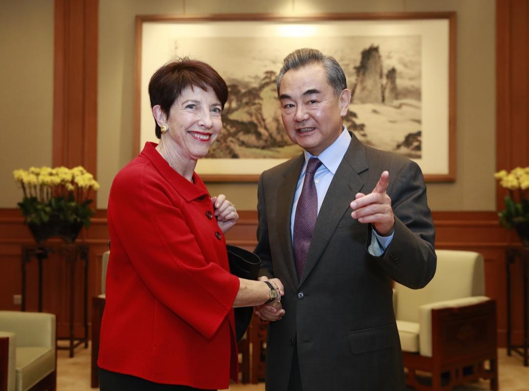 謝淑麗到北京會見中國國務委員兼外交部長王毅。