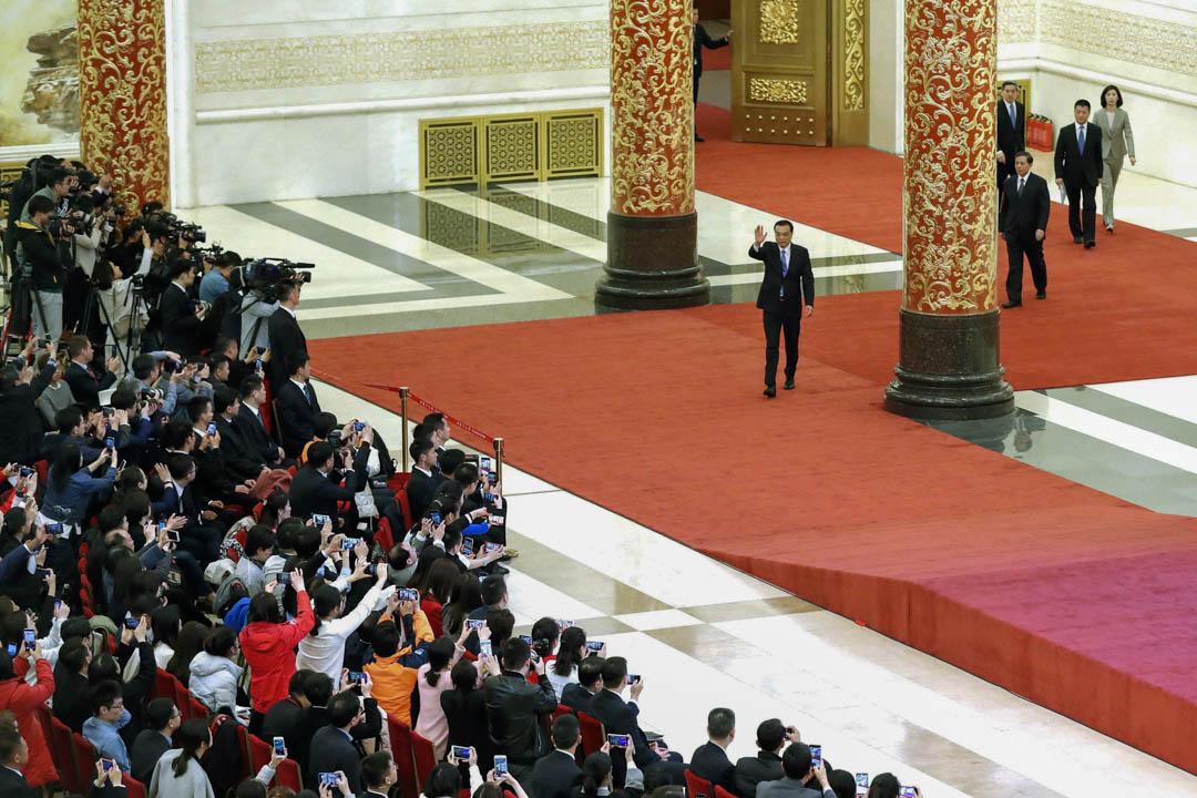 2019年3月15日,總理李克強在北京人民大會堂的兩會閉幕記者會上。