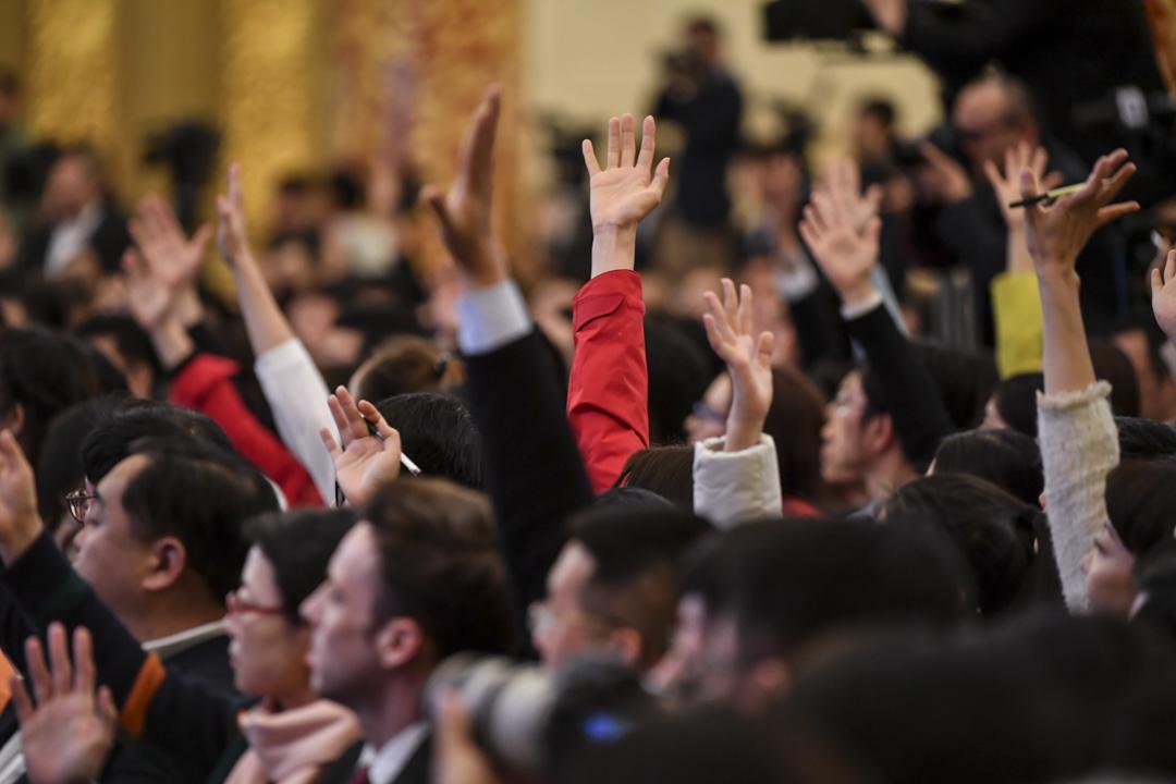 2019年3月15日,第13屆全國人大二次會議期間,記者在李克強總理在新聞發布會上提出問題。