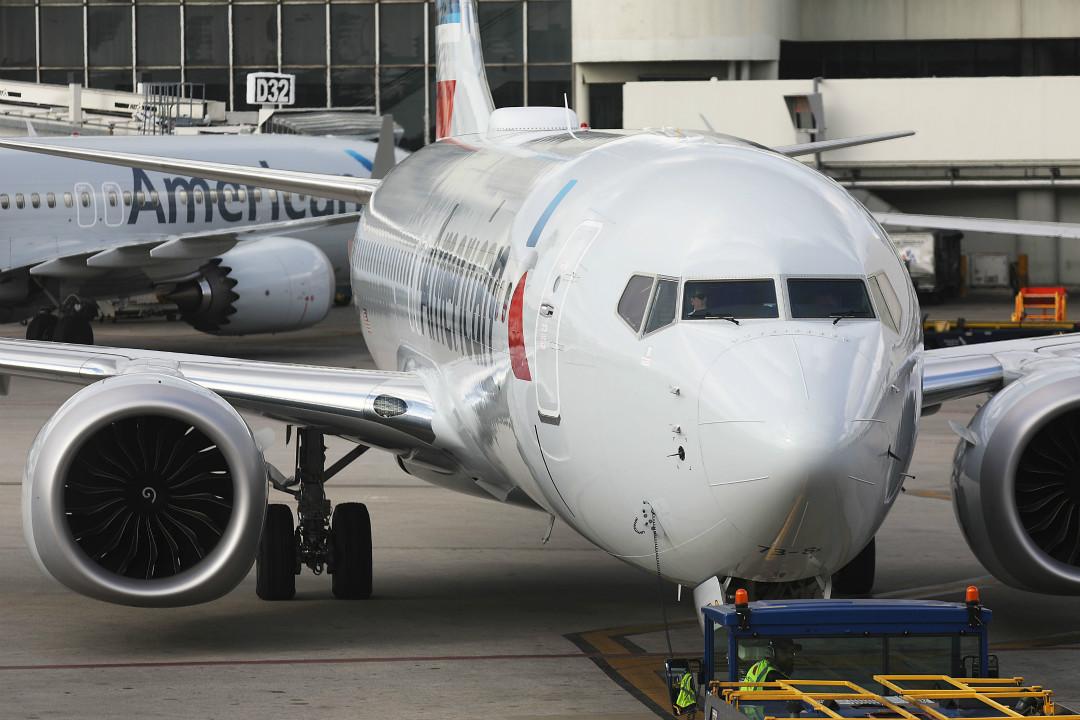 2019年3月13日,美國航空公司波音737 Max-8 飛機抵達邁阿密國際機場。 攝:Joe Raedle/Getty Images