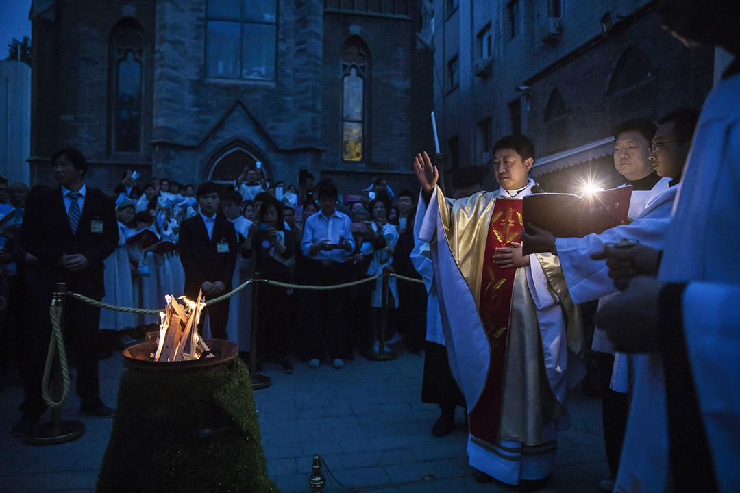 2017年4月15日,中國北京的天主教教會在復活節期間舉行慶祝活動。