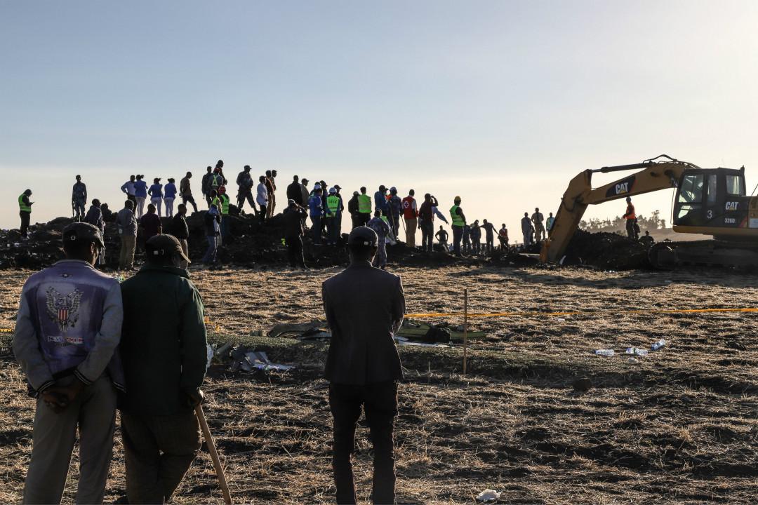 2019年3月10日,埃塞俄比亞航空公司一架波音 737 Max-8 客機從首都亞的斯亞貝巴起飛不久墜毀,機上157人全部遇難。 攝:Michael Tewelde/Getty Images