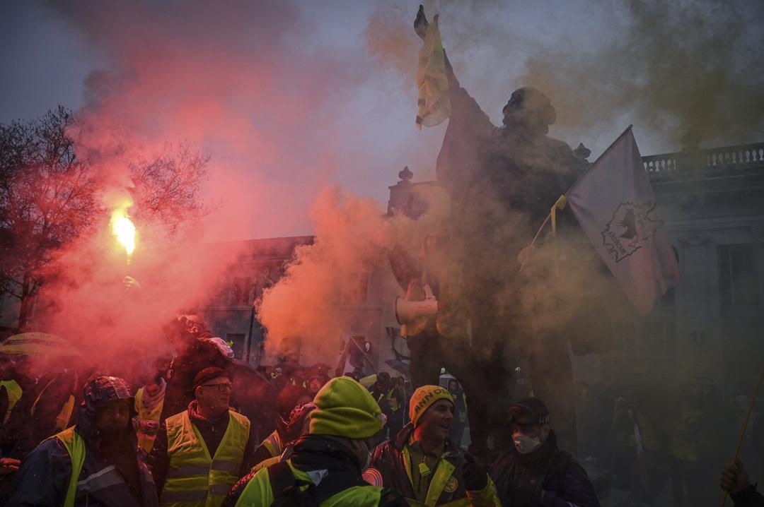 2019年2月2日,法國東南部朗斯的第12週黃馬甲運動。