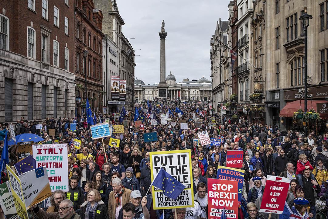 2019年3月23日,民眾在倫敦市中心抗議示威,要求就脫歐舉行第二次公投。