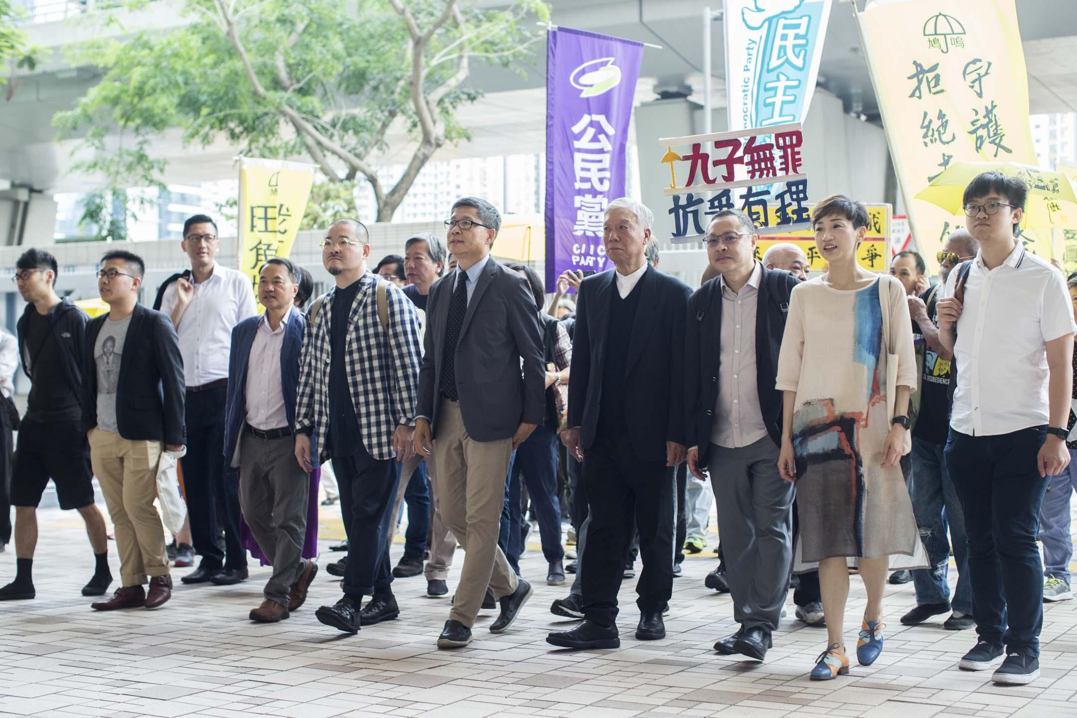 2019年4月10日,佔中九子案判決,九名被告戴耀庭、陳健民、朱耀明、陳淑莊、邵家臻、張秀賢、鍾耀華、黃浩銘和李永達到達法院。