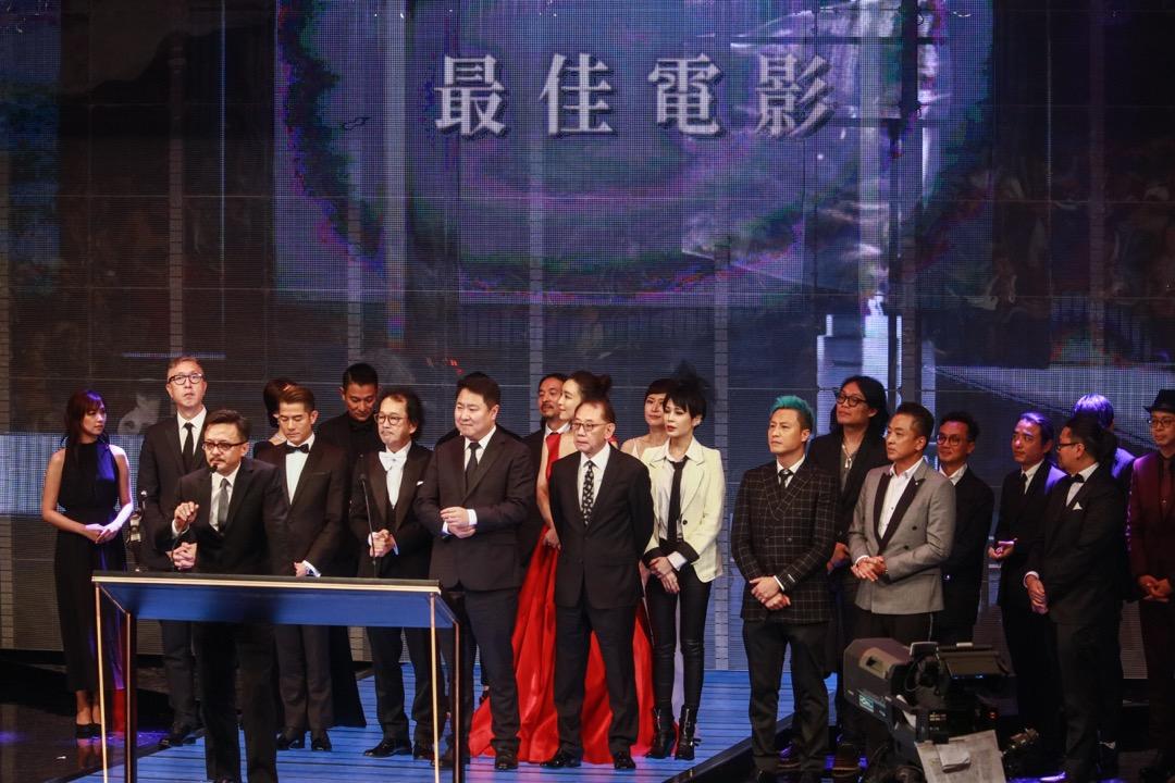 2019年4月14日,香港電影金像獎最佳電影得獎電影《無雙》團隊上台領獎。