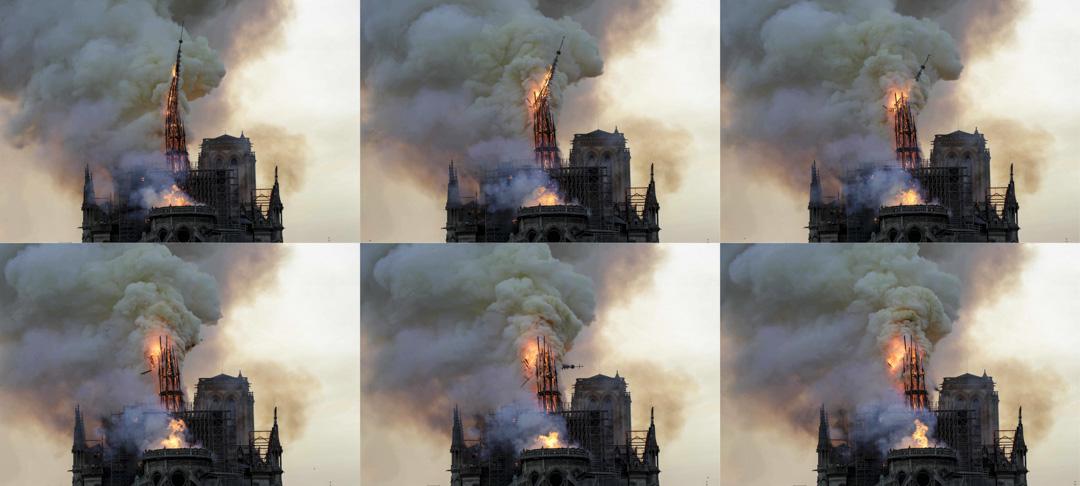 2019年4月15日,巴黎聖母院大教堂的屋頂在燃燒。