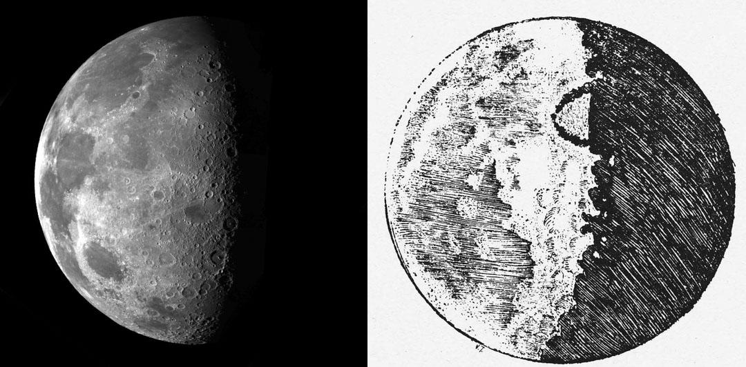 天文觀測的影像不斷演變。左為美國太空總署無人太空船伽利略號探測器1992年拍下的月球照片;右為伽利略十五世紀手繪的月面圖是人類史上首張月球的科學影像。