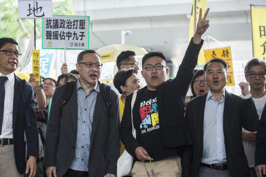 2019年4月9日,佔中九子案判決,戴耀庭、陳健民、朱耀明、黃浩銘和李永達等到達法院。 攝:林振東/端傳媒