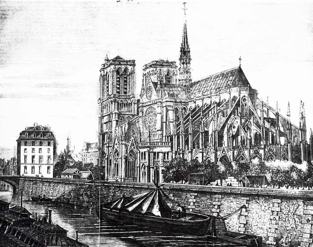 19世紀的巴黎聖母院大教堂。
