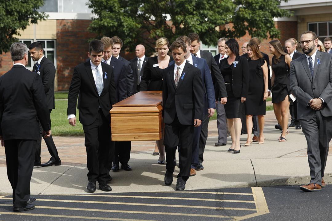 2017年6月22日,美國大學生瓦姆比爾(Otto Warmbier)的喪禮在俄亥俄州家鄉舉行。 攝:Bill Pugliano / Getty Images