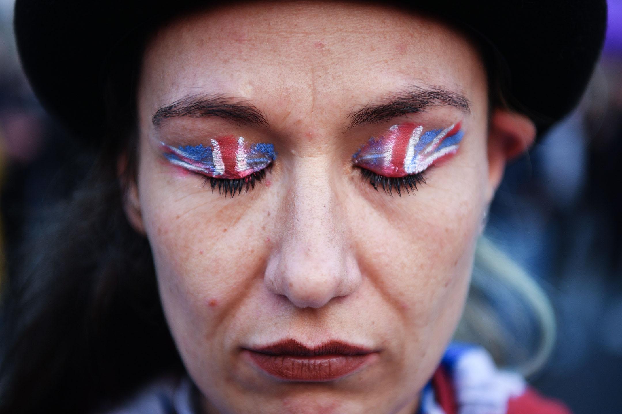 2019年3月29日,脫歐支持者在倫敦國會廣場集會,抗議英國脫歐延期。 攝:Leon Neal/Getty Images