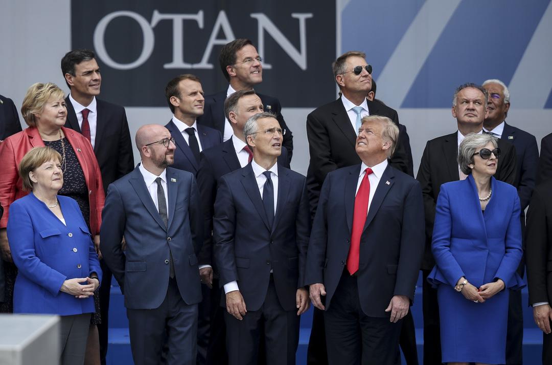 2018年7月11日,北約成員國領導人出席比利時布魯塞爾舉行的北約峰會開幕式。 攝:Sean Gallup/Getty Images