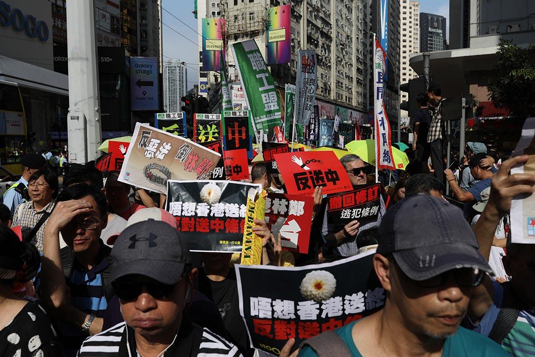 2019年4月28日,民間人權陣線舉行遊行,反對政府修訂《逃犯條例》。   攝:Stanley Leung/端傳媒