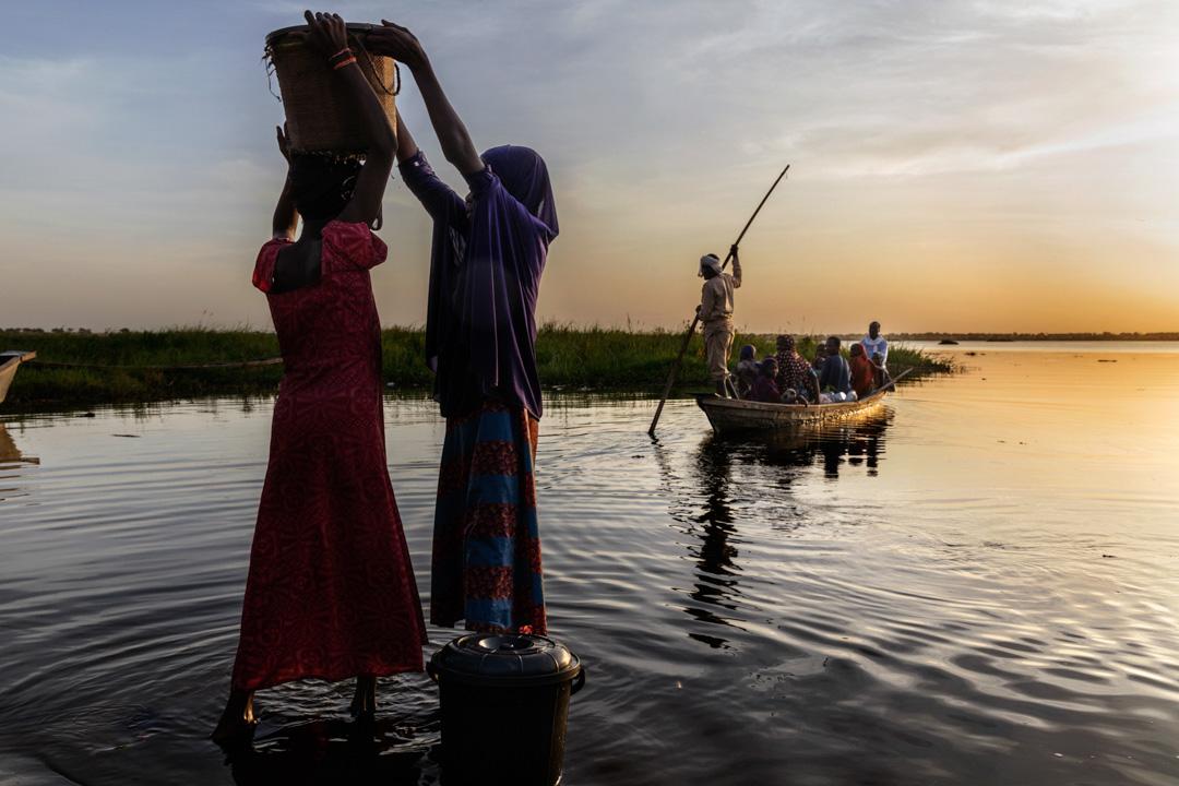 2018年10月15日,女士們在乍得湖打水。