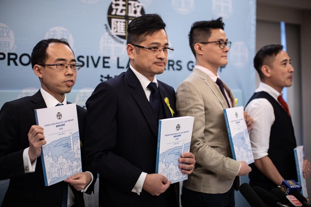 2019年4月11日,專業團體「法政匯思」發表首份《香港法治報告》,回顧過去一年香港法治的情況,並提出60項建議,捍衛香港法治。 攝:Stanley Leung/端傳媒