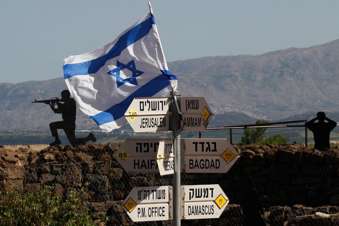 2018年5月10日,以色列軍隊於戈蘭高地的山上放置了一面以色列國旗。