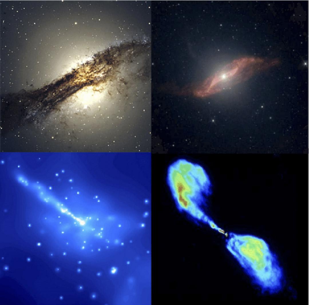 以不同頻率的電磁波眺望天際會看到截然不同的風景,一個肉眼看不見的真相。圖為以普通光波(左上)、中頻紅外線(右上)、X-ray(左下)及電波(右下)觀察的半人馬座。
