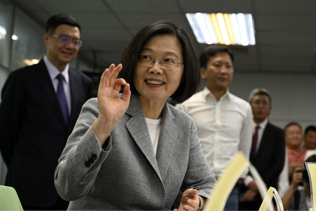 2019年3月21日,台灣總統蔡英文在台北民進黨總部登記成為2020年總統參選人。 攝:Sam Yeh/Getty Images