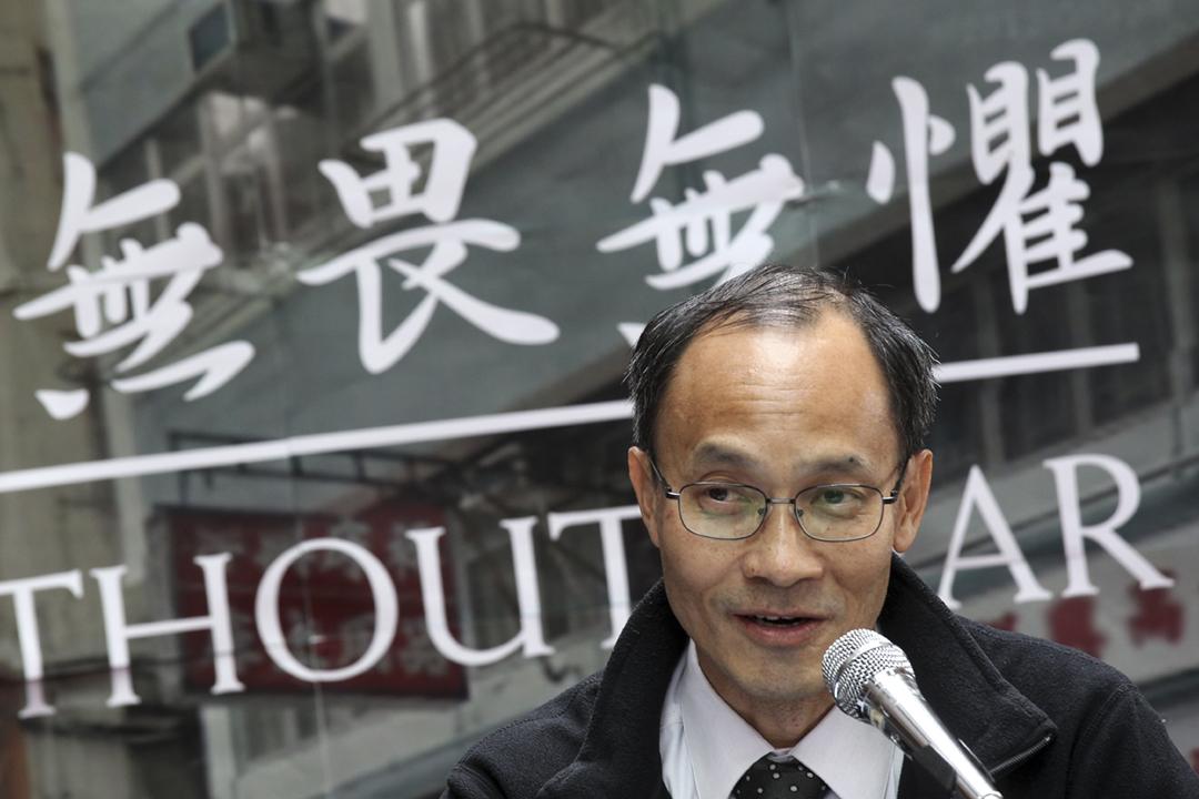 2014年3月18日,港大民研總監鍾庭耀出席論壇。 攝:Dickson Lee / SCMP via Getty Images