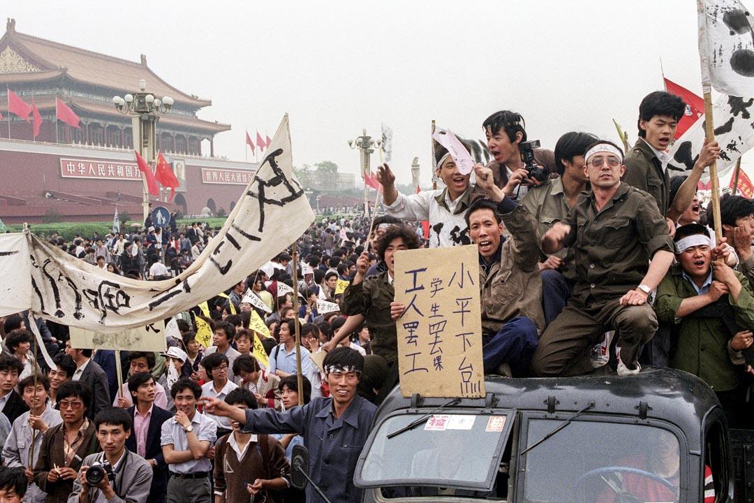 1989年5月18日,超過一百萬中國工人湧入北京街頭,支持天安門民主運動。