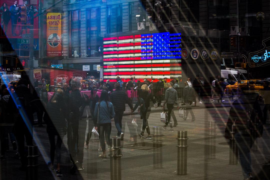 2019年4月8日,美國紐約時代廣場附近的納斯達克市場。 攝:Michael Nagle/Bloomberg via Getty Images