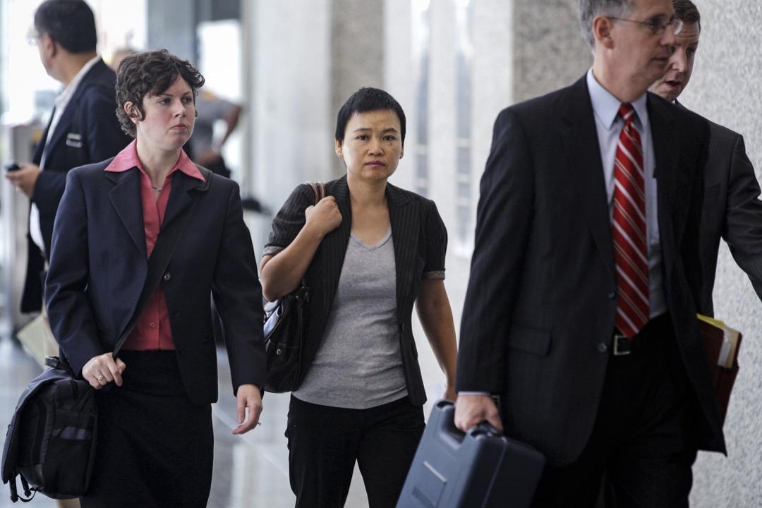 美國政府2012年判定金漢娟(譯名、圖中)竊取商業機密罪名成立。