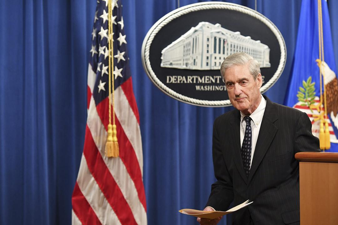 2019年5月29日,特別檢察官穆勒(Robert Mueller)首次就「通俄門」調查發表聲明,確認不會對總統特朗普提出起訴,同時宣布「通俄門」特別檢察辦公室正式關閉,他本人亦已向司法部請辭。 攝:Mandel Ngan / AFP / Getty Images