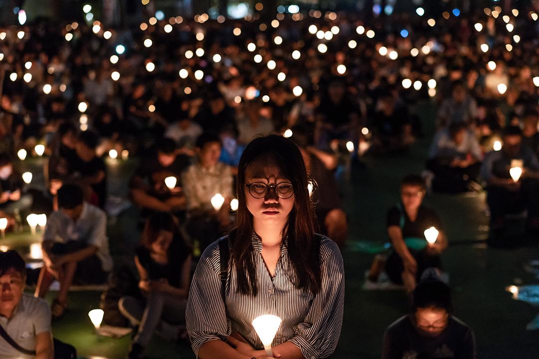 2018年6月4日,香港維多利亞公園的六四燭光集會。