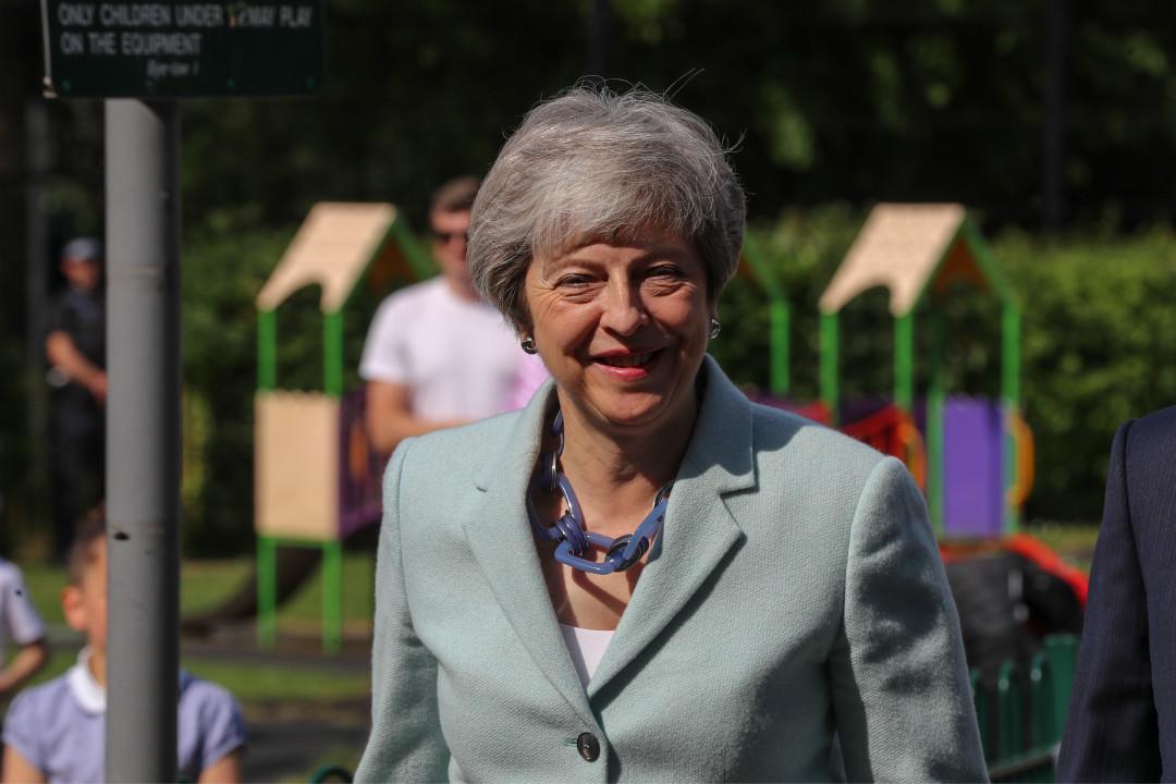 2019年5月23日,英國首相文翠珊(Theresa May)參加歐洲議會選舉投票。 攝:Simon Dawson/Getty Images