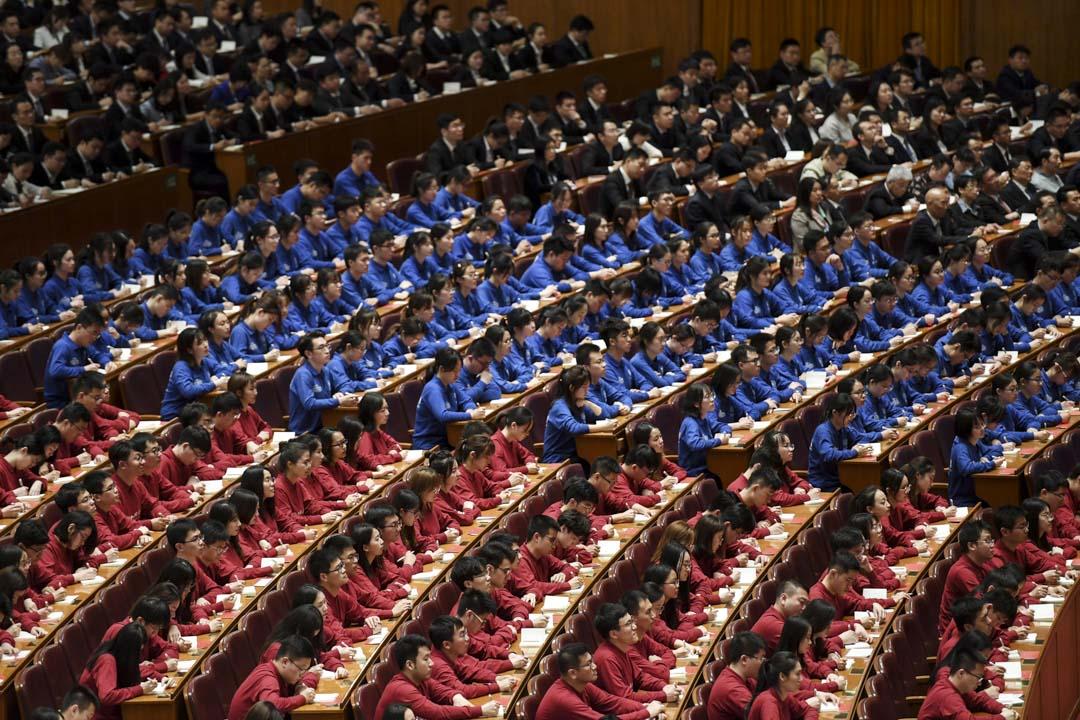 2019年4月30日,五四運動100週年演講會上出席的學生。