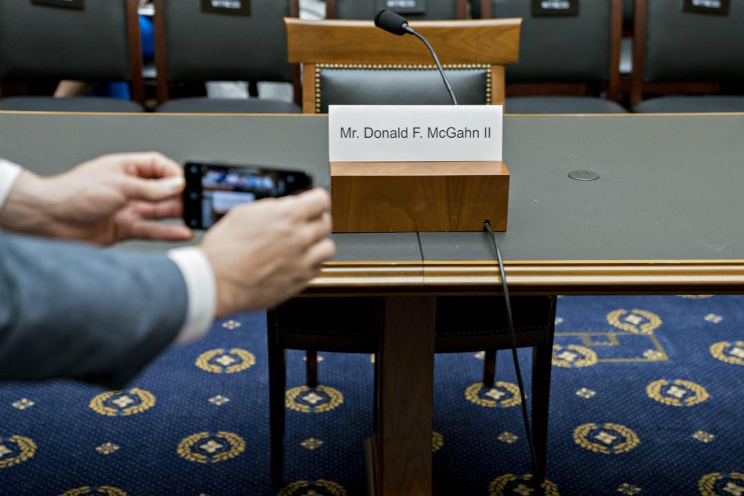 2019年5月21日,前白宮法律顧問麥克加恩(Donald McGahn)缺席國會聽證會。 攝:Andrew Harrer/Getty Images