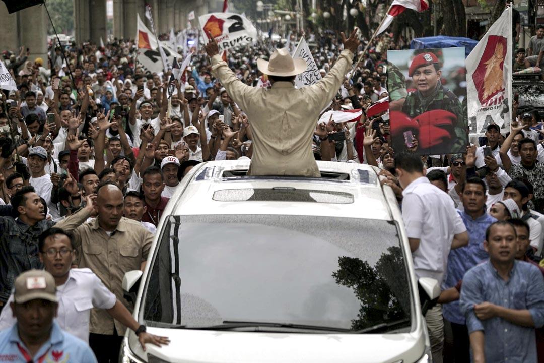 2019年4月9日,總統候選人Prabowo Subianto於印尼蘇門答臘省舉行競選活動。