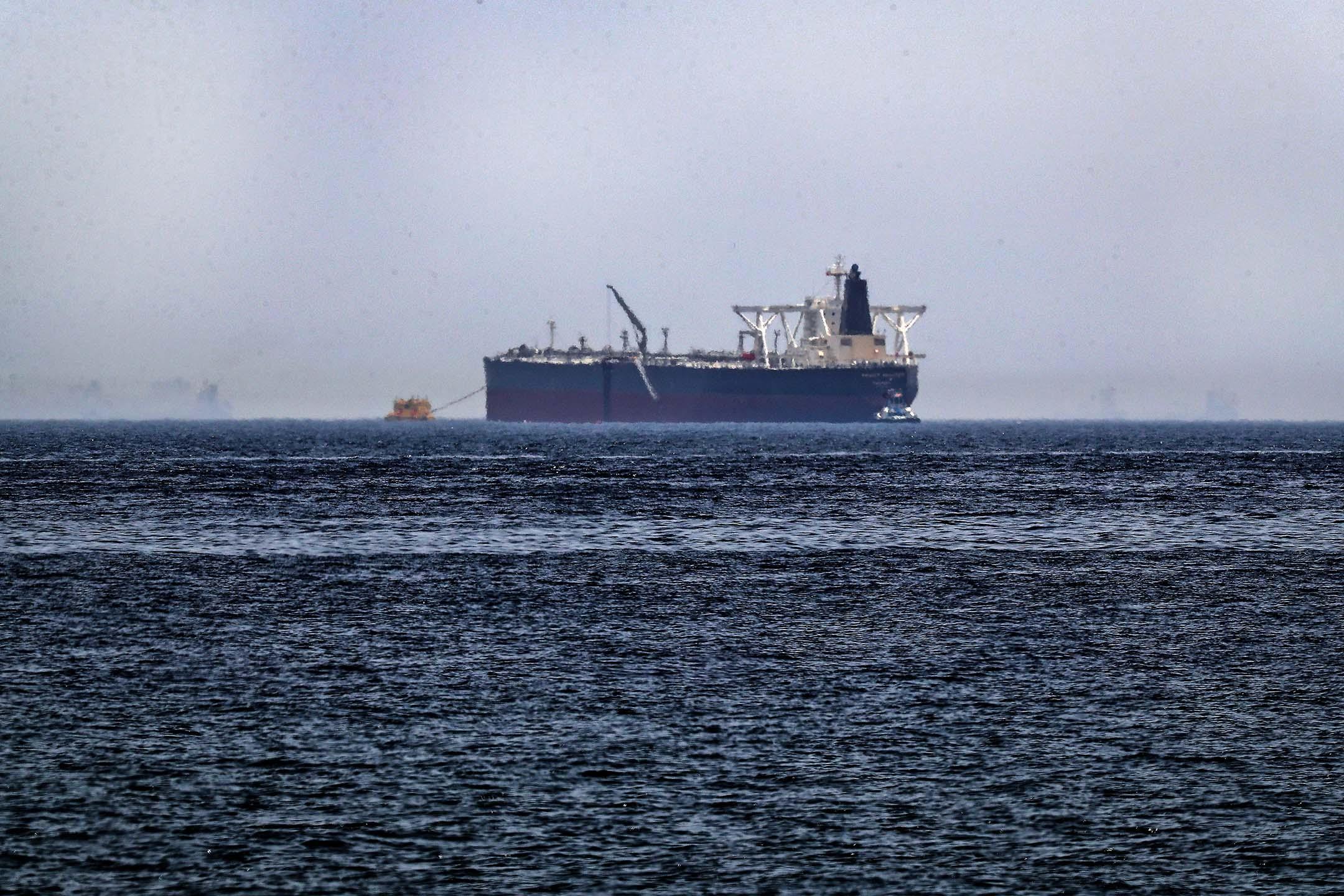 """2019年5月13日,原油油輪Amjad,據報在富查伊拉海灣酋長國海岸遭受""""破壞襲擊""""的兩艘沙特油輪之一。"""