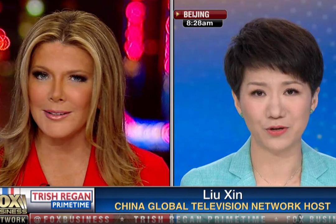 2019年5月30日,美國 Fox 財經網主播 Trish Regan 與中國環球電視網(CGTN)主播劉欣就美中貿易戰進行連線「辯論」,但有網民形容「辯論」更像是訪談節目。 圖片來源:東方 IC