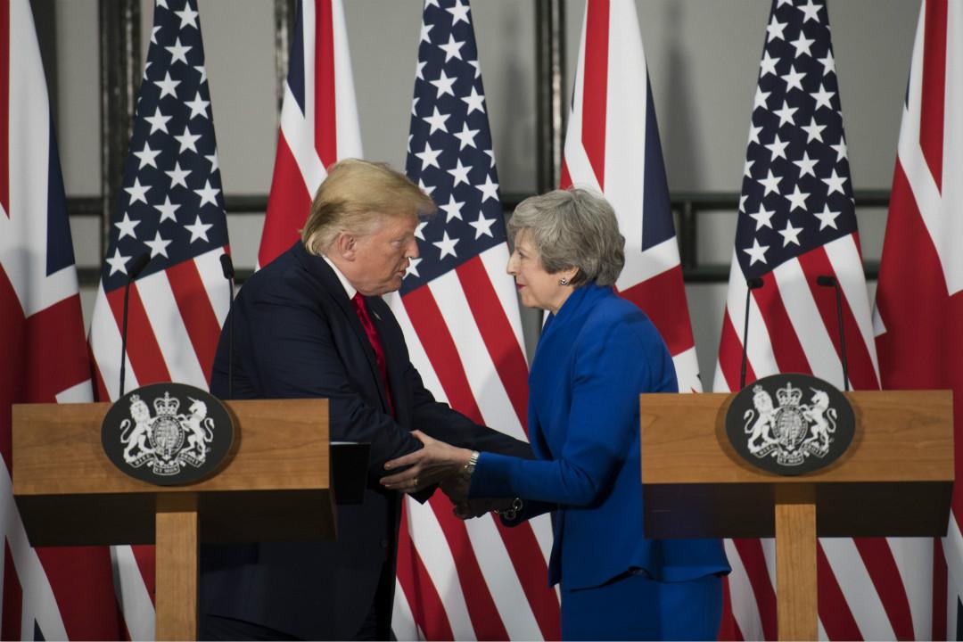 2019年6月4日,美國總統特朗普與英國首相文翠珊會晤後,共同出席新聞發布會。 攝:David Rose/Getty Images