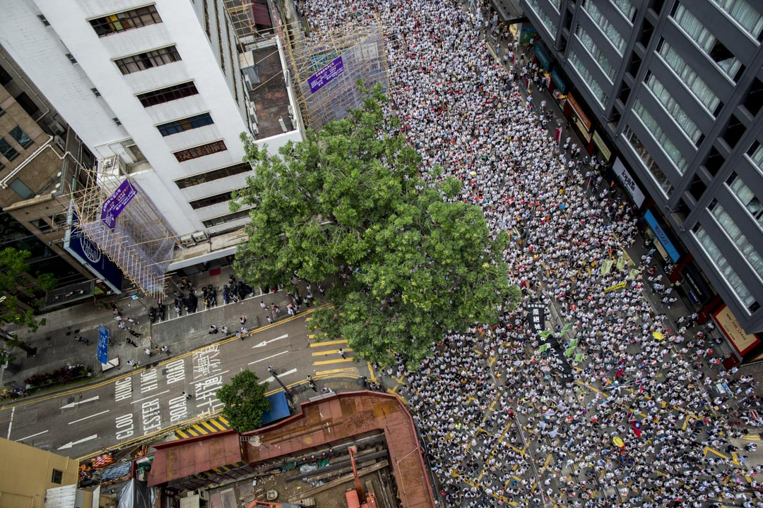 2019年6月9日,民陣發起反對《逃犯條例》修訂的「反送中」大遊行。 攝:林振東/端傳媒