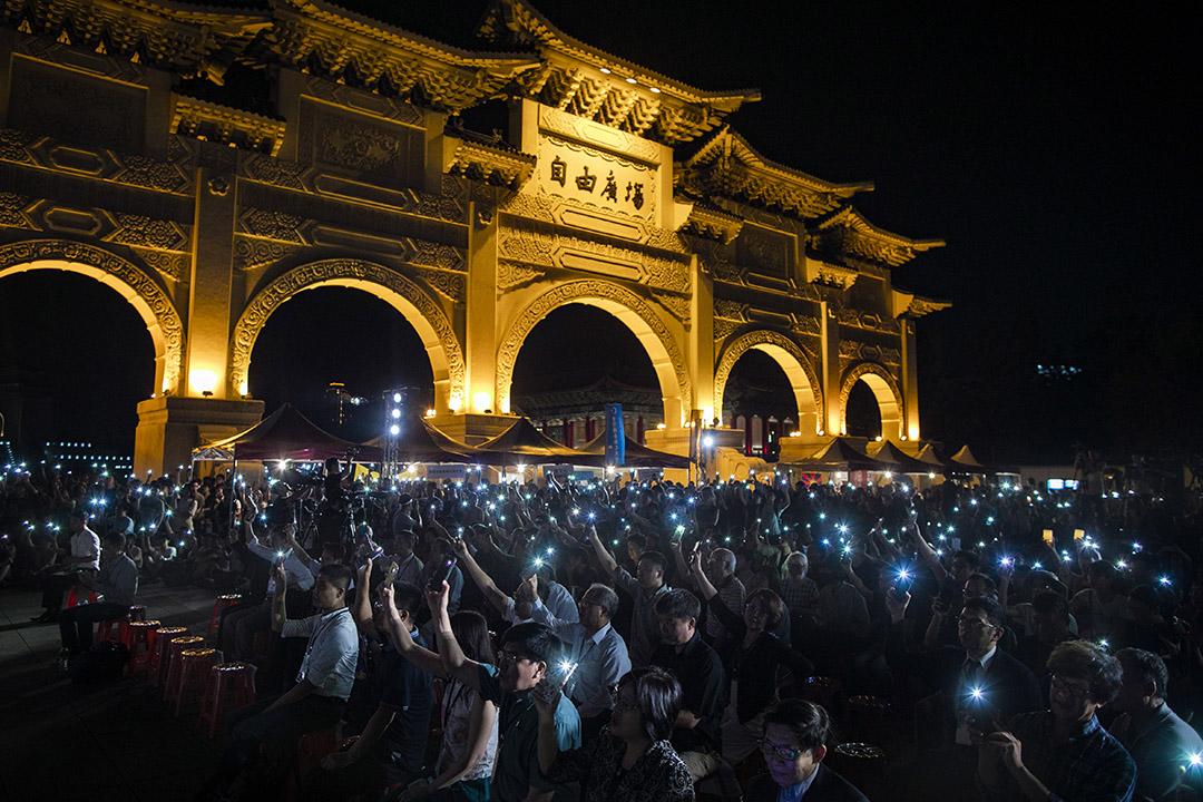 2019年6月4日,台北自由廣場舉行六四三十周年悼念晚會。 攝:陳焯煇/端傳媒