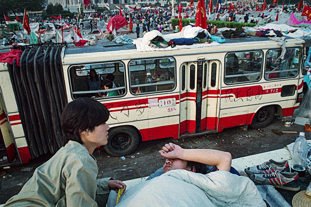 示威者在1989年天安門廣場上。