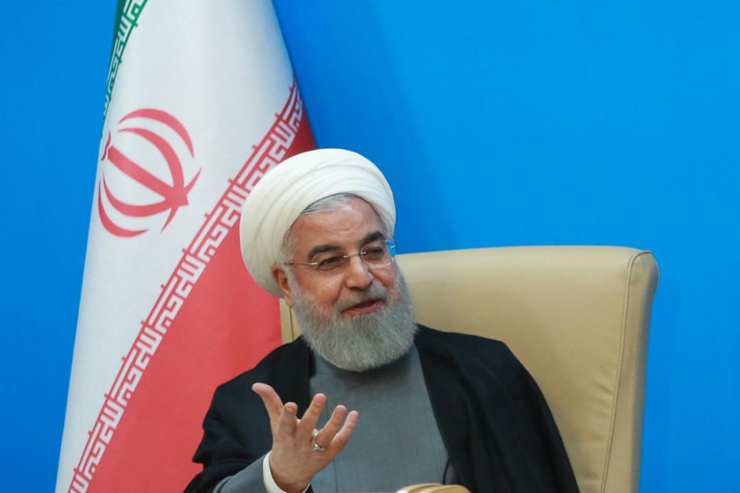 2019年6月25日,伊朗總統魯哈尼(Hassan Rouhani)會見衛生部官員,期間對美伊局勢做出回應。 攝:Imagine China