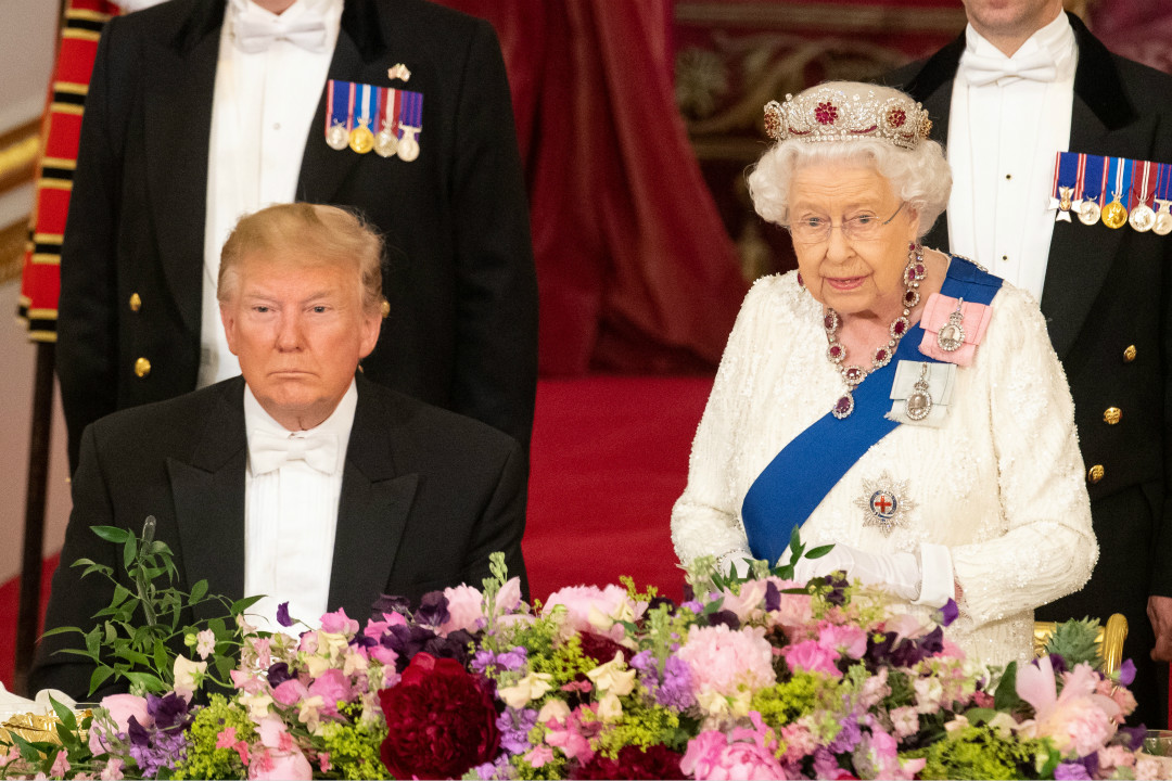 2019年6月3日,美國總統特朗普訪問英國,女王伊利沙伯二世(Queen Elizabeth II)在白金漢宮設國宴款待。 攝:Dominic Lipinski/Getty Images