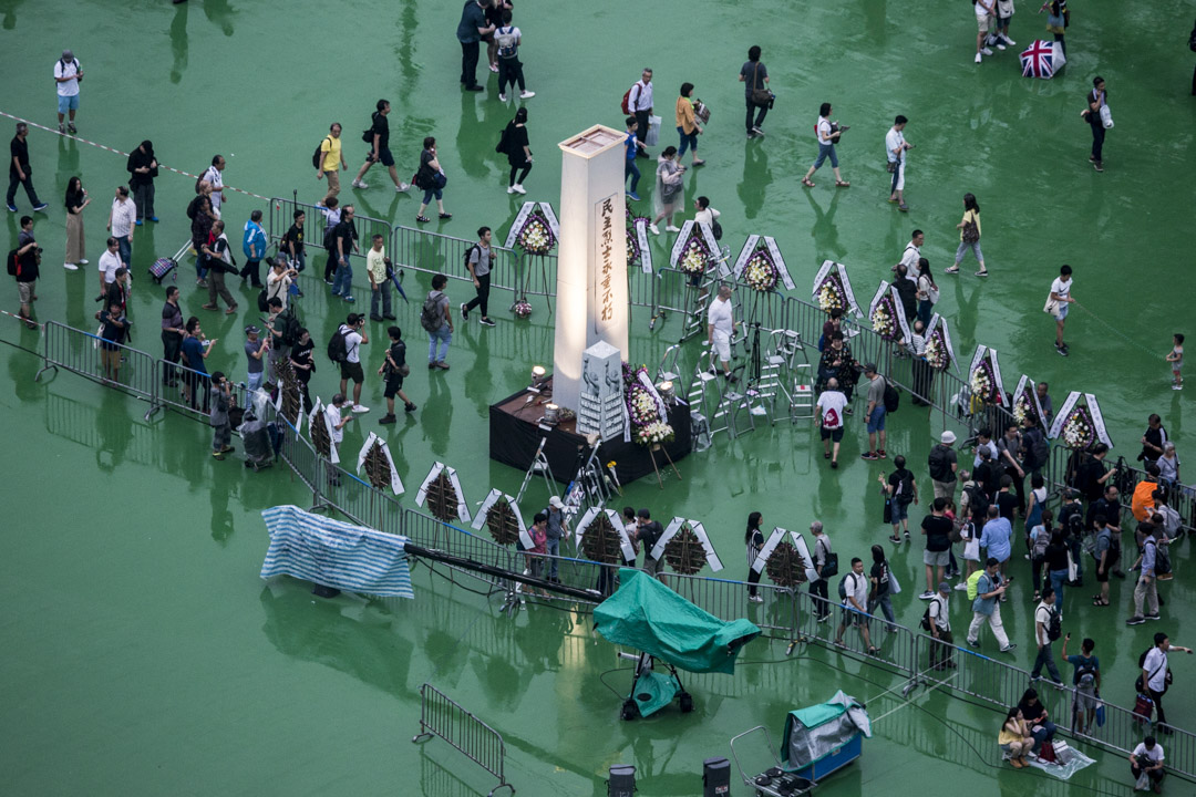 2019年6月4日晚上六時,「六四事件」30週年,香港維園燭光晚會準備舉行。 攝:林振東/端傳媒