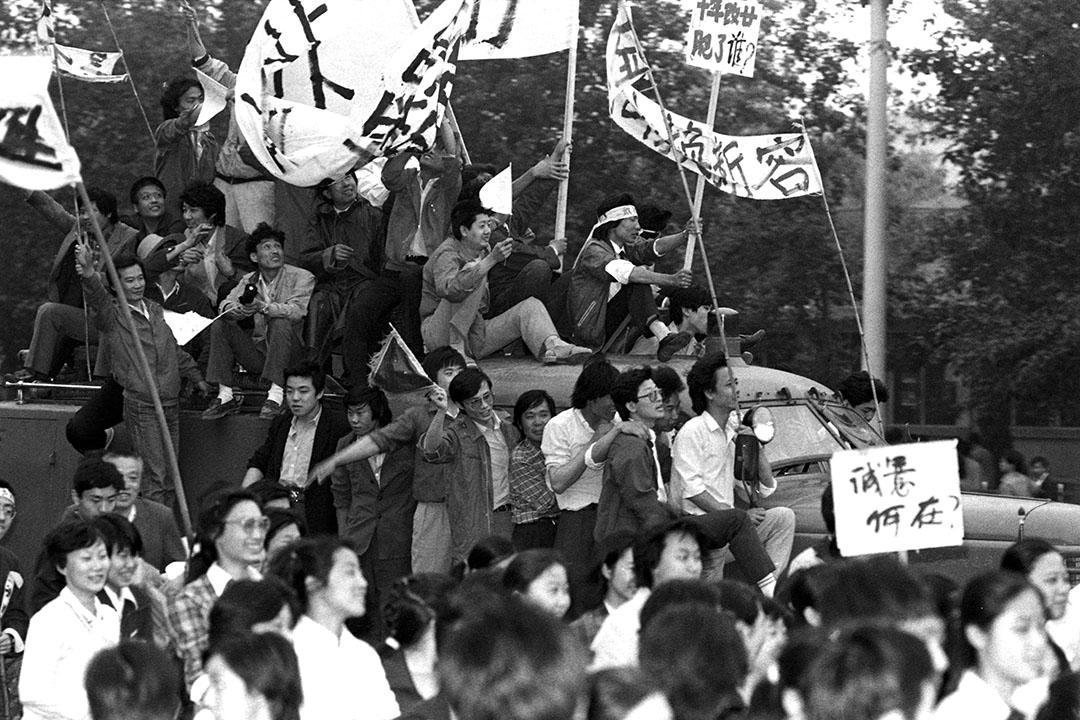 1989年5月17日,北京天安門廣場。