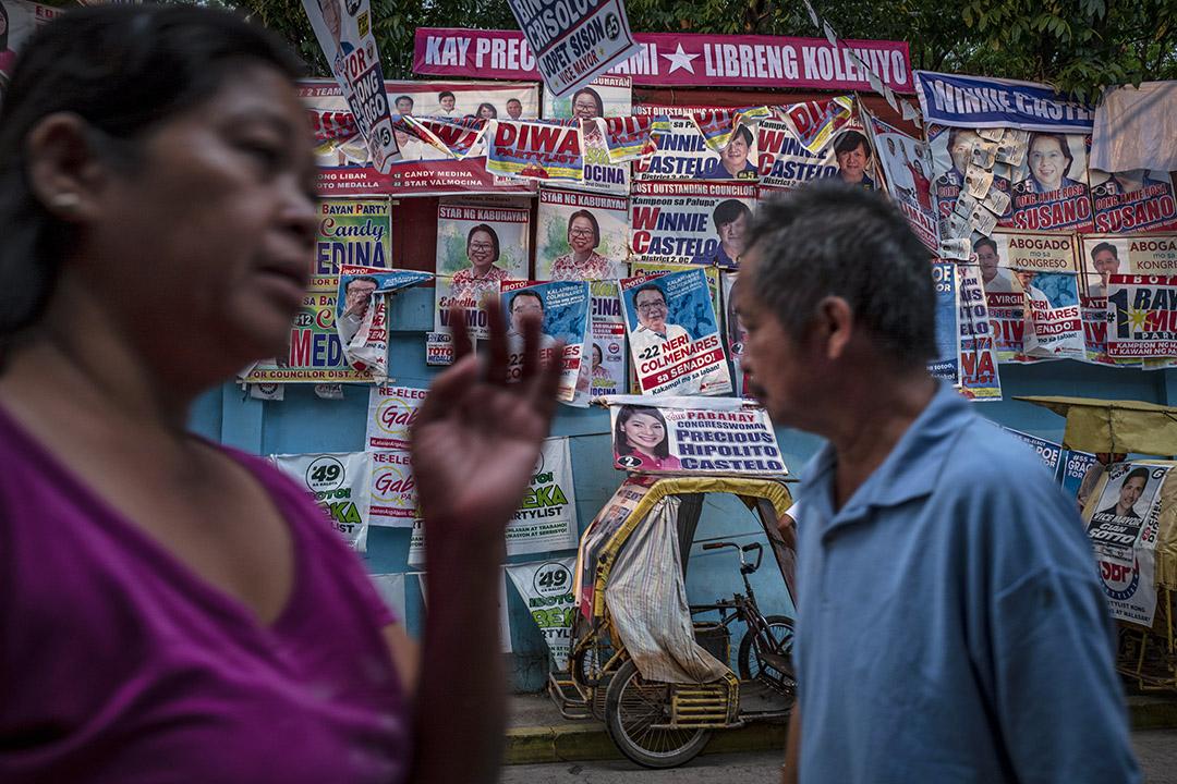 2019年5月12日,菲律賓馬尼拉,競選海報掛滿一條街。