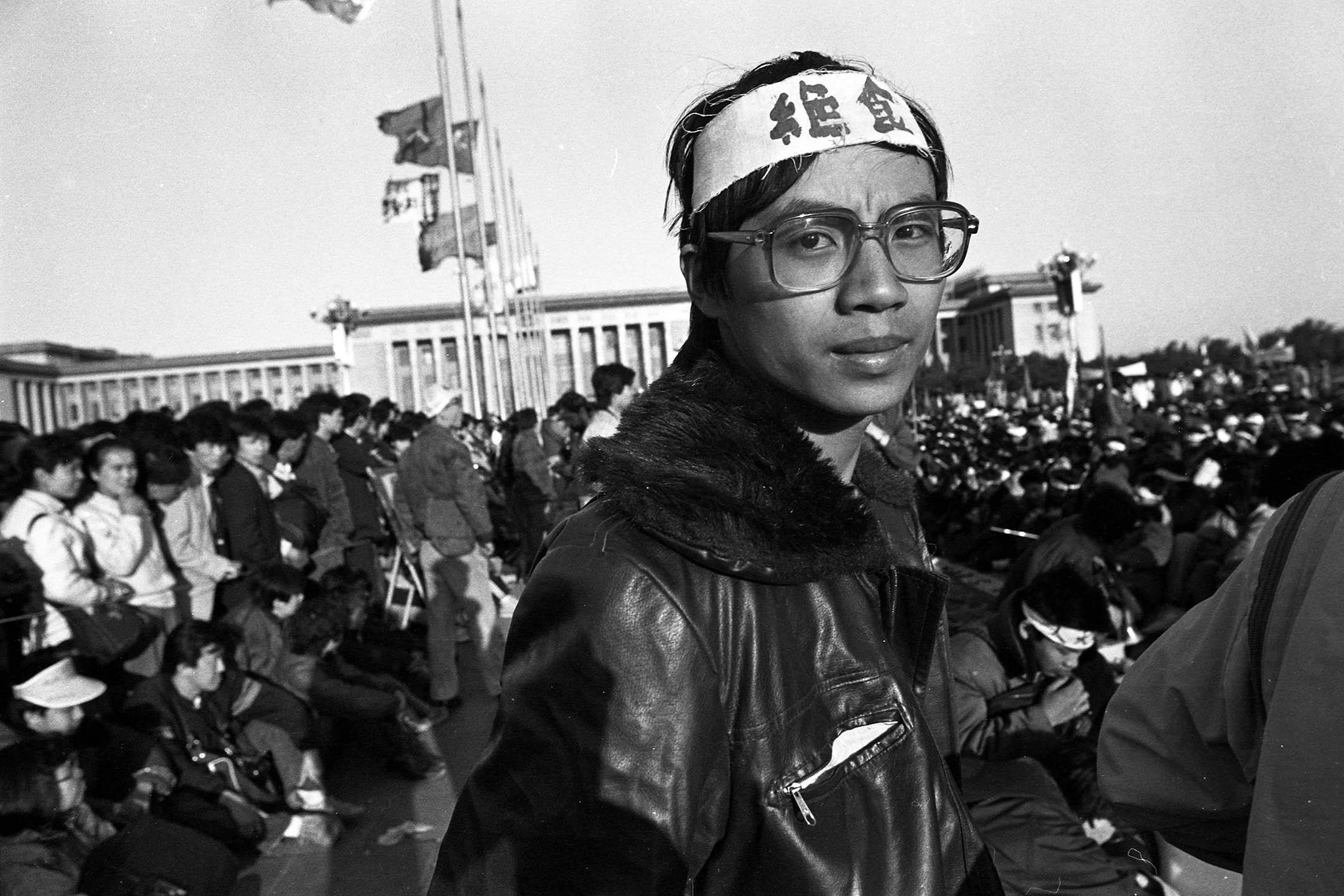 1989年5月14日,天安門廣場上的王丹。